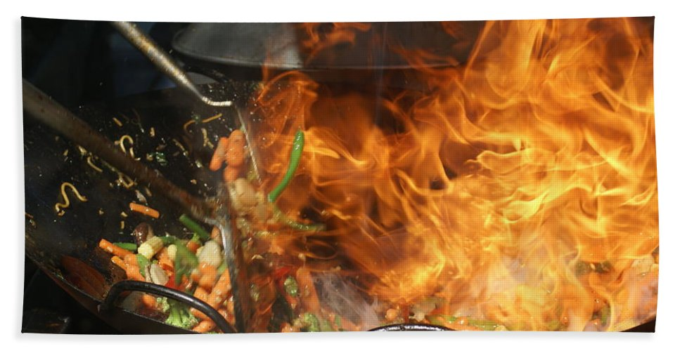 Food Bath Sheet featuring the photograph Getting Stir Fried by Ben Upham III