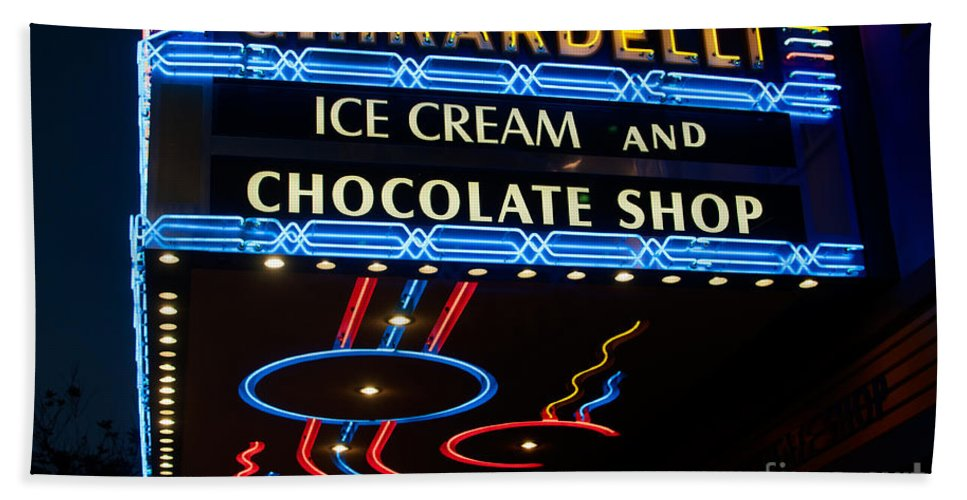 Cactus Hand Towel featuring the digital art Ghirardelli Chocolate Signs At Night by Carol Ailles