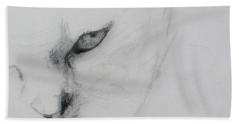 Cat Hand Towel featuring the drawing Ghost Cat by Rory Sagner