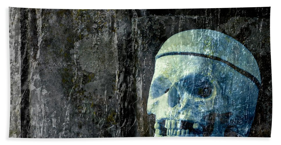 Halloween Hand Towel featuring the photograph Ghost Skull by Edward Fielding