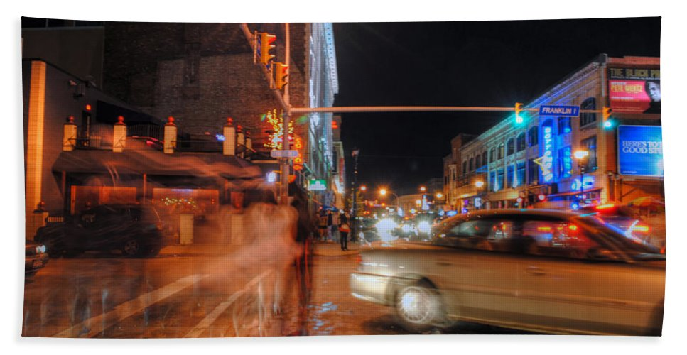 Bath Sheet featuring the photograph Ghostly Halloween Party Goers On Chippewa by Michael Frank Jr