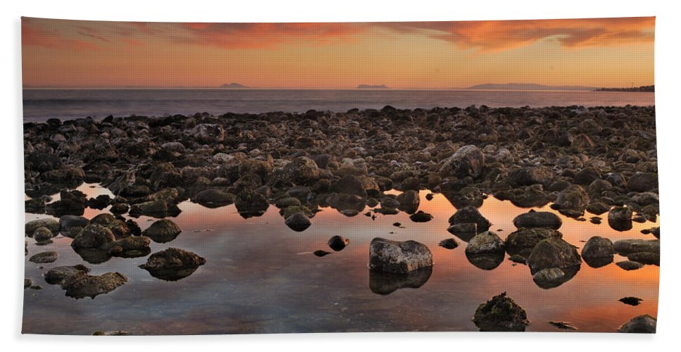 Seascape Bath Sheet featuring the photograph Gibraltar And Africa And Spain In One Shot From Marbella by Guido Montanes Castillo