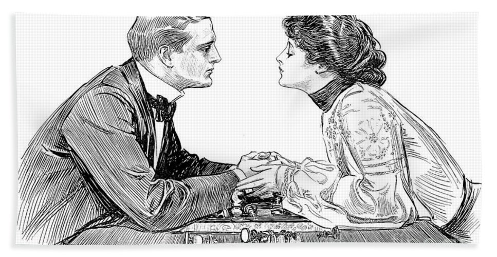 1903 Hand Towel featuring the photograph Chess Game, 1903 by Charles Dana Gibson