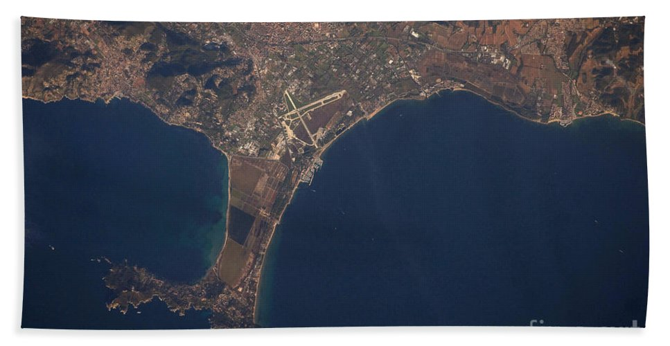 Aerial View Hand Towel featuring the photograph Giens Peninsula, France by NASA/Science Source