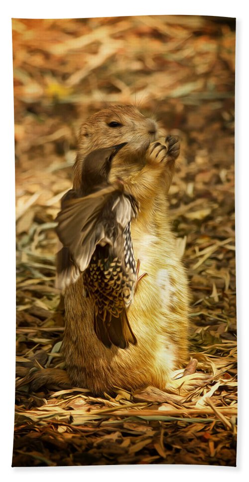 Prairie Dog Bath Sheet featuring the photograph Gimme My Carrot by Linda Tiepelman