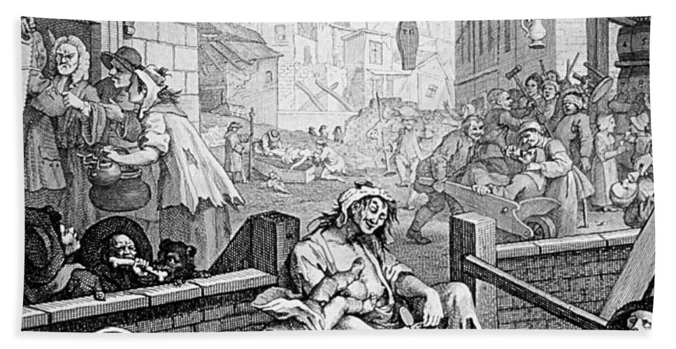 History Hand Towel featuring the photograph Gin Lane, William Hogarth by Science Source