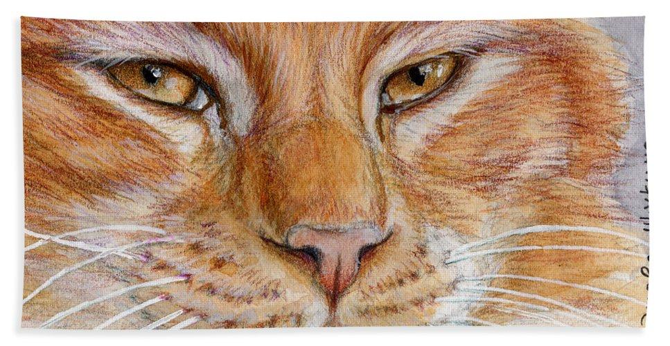 Chat Bath Sheet featuring the painting Ginger Cat by Svetlana Ledneva-Schukina