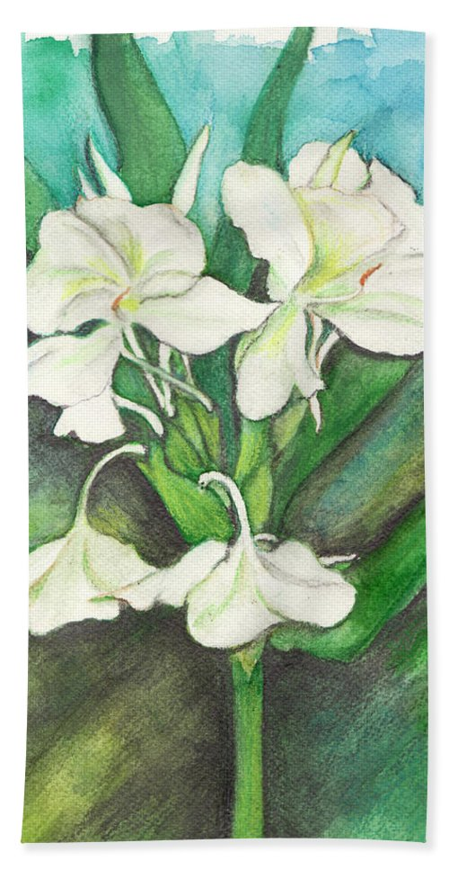 Ginger Lily Bath Sheet featuring the painting Ginger Lilies by Carla Parris