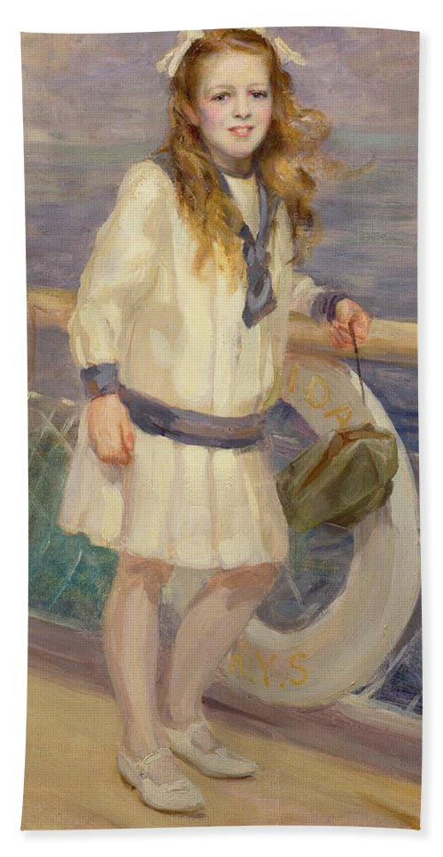 Girl Bath Sheet featuring the painting Girl In A Sailor Suit by Charles Sims