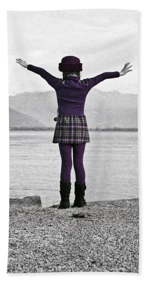 Girls Hand Towel featuring the photograph Girl On The Shores Of Lake Maggiore by Joana Kruse