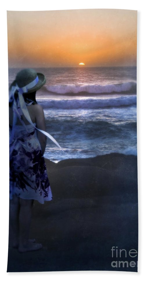 Young Bath Sheet featuring the photograph Girl Watching The Sun Go Down At The Ocean by Jill Battaglia