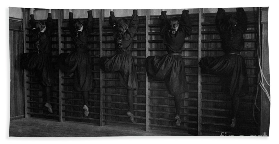 History Hand Towel featuring the photograph Girls On Climbing Apparatus, 1899 by Photo Researchers