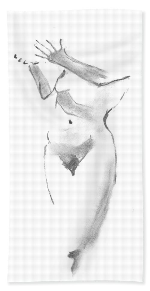 Gesture Drawing Bath Sheet featuring the drawing Give - Receive by Marica Ohlsson