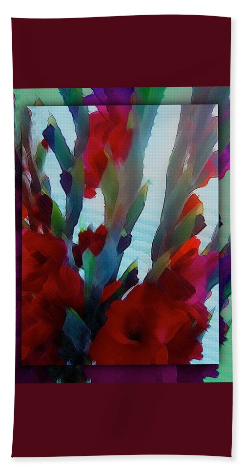 Abstract Hand Towel featuring the digital art Glad by Richard Laeton