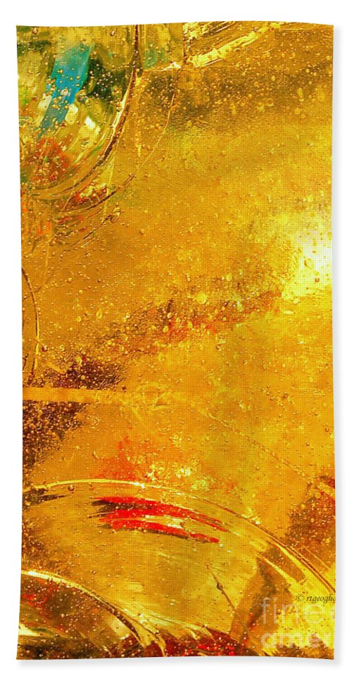 Abstract Photography Bath Sheet featuring the photograph Glassworks Series-gold I by Regina Geoghan