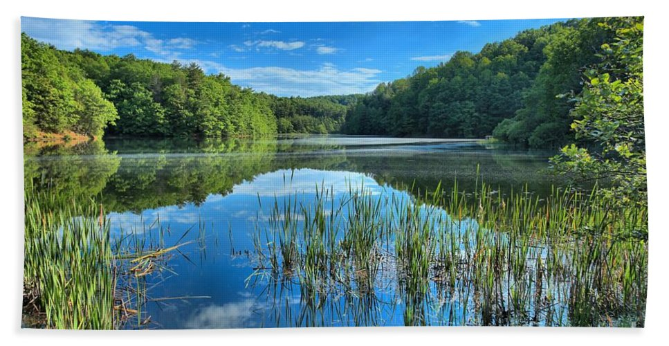 Long Branch Lake Bath Sheet featuring the photograph Glassy Waters by Adam Jewell