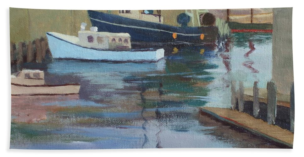 Gloucester Harbor Bath Sheet featuring the painting Gloucester Harbor by Claire Gagnon