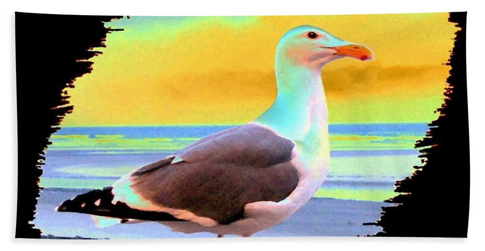 Seagull Hand Towel featuring the digital art Glow Of The Sunset by Will Borden