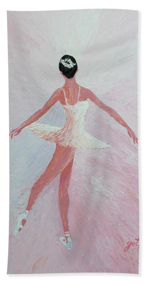 Ballerina Hand Towel featuring the painting Glowing Ballerina Original Palette Knife by Georgeta Blanaru