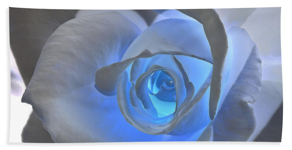 Rose Bath Towel featuring the photograph Glowing Blue Rose by Phyllis Denton