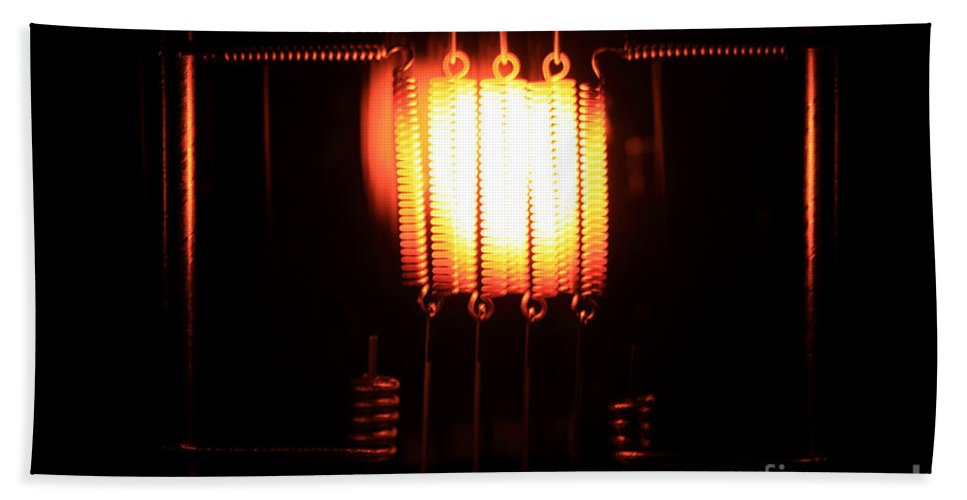 Science Hand Towel featuring the Glowing Filament 3 Of 3 by Ted Kinsman