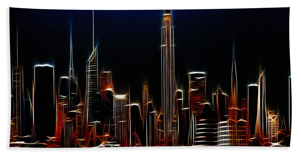 New York City Nyc Ny Big Apple Skyscrapers Night Ligh Lights Moon Moonlight Painting Expressionism Blue Color Colorful Modern Art Cityscape Nightscape Abstract Bath Sheet featuring the digital art Glowing New York by Steve K