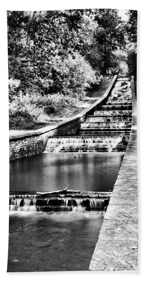 Gnoll Estate Country Park Bath Sheet featuring the photograph Gnoll Country Park 4 Mono by Steve Purnell