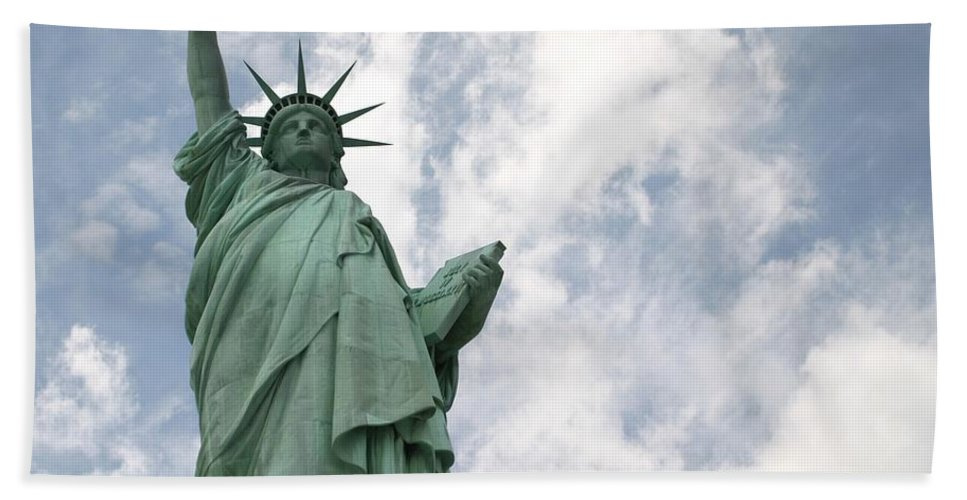 Statue Of Liberty Bath Sheet featuring the photograph God Bless America by Living Color Photography Lorraine Lynch