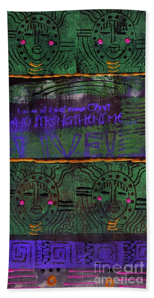 Women Bath Sheet featuring the mixed media God Grants Us Immeasurable Strength by Angela L Walker