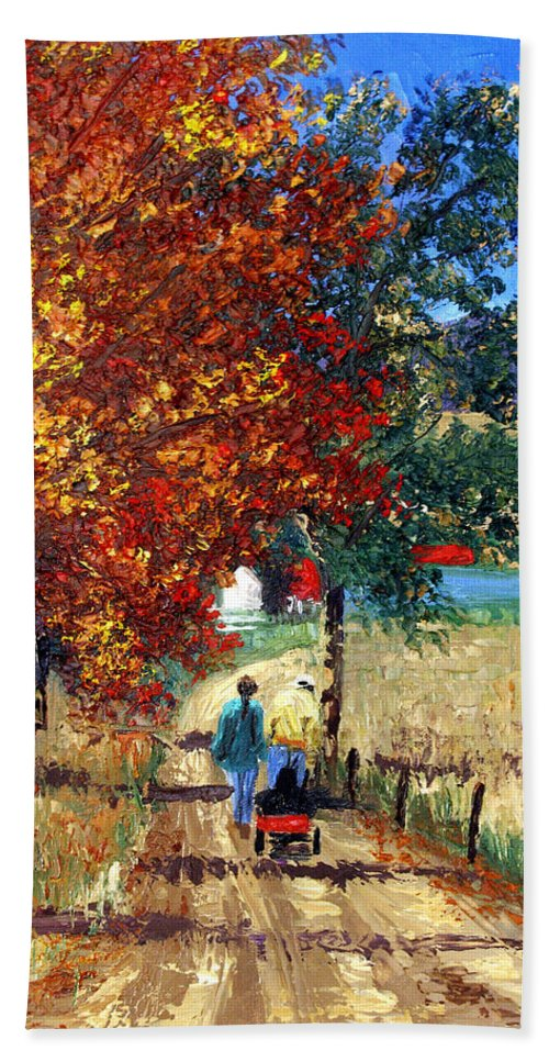 Going Home Framed Prints Bath Sheet featuring the painting Going Home by Anthony Falbo