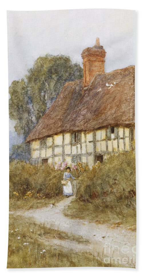 Cottage; Rural; Half-timbered; Country; Lane; Path; Female; Errand; C19th; C20th; Victorian Bath Sheet featuring the painting Going Shopping by Helen Allingham