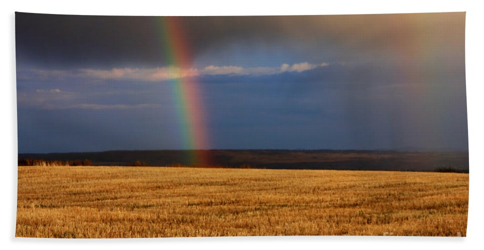 Rain Bath Sheet featuring the photograph Gold At The End Of The Rainbow by James Anderson