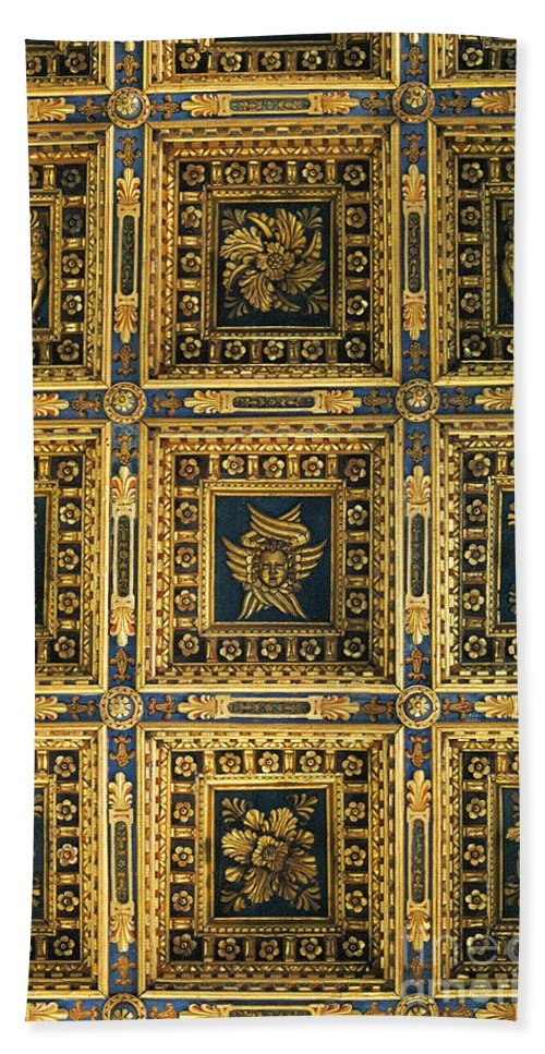 Gold Bath Sheet featuring the photograph Gold Cathedral Ceiling Italy by Mike Nellums