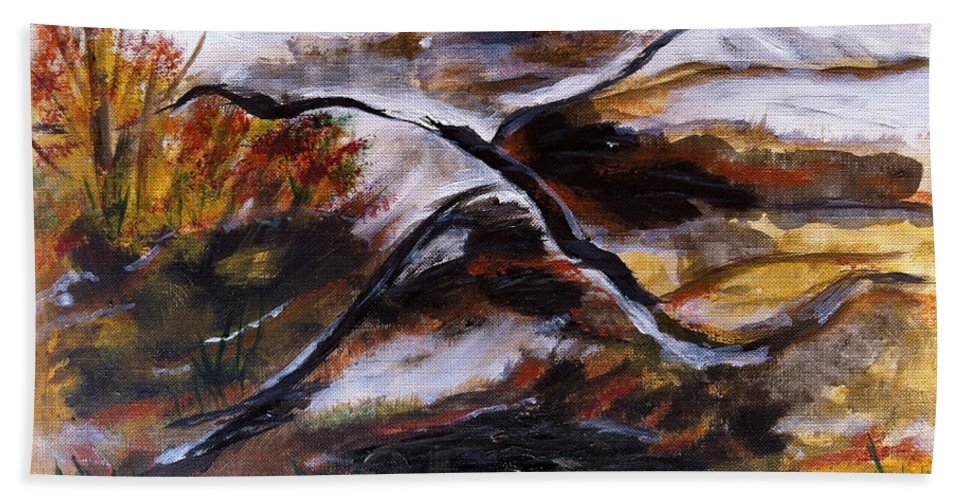 Landscape Hand Towel featuring the painting Gold Country by Donna Blackhall