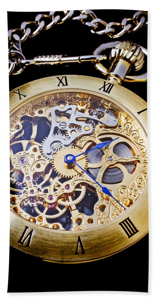 Time Bath Sheet featuring the photograph Gold Pocket Watch by Garry Gay