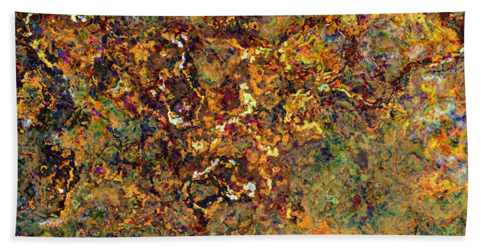Abstract Bath Sheet featuring the digital art Gold Strike by Debbie Portwood