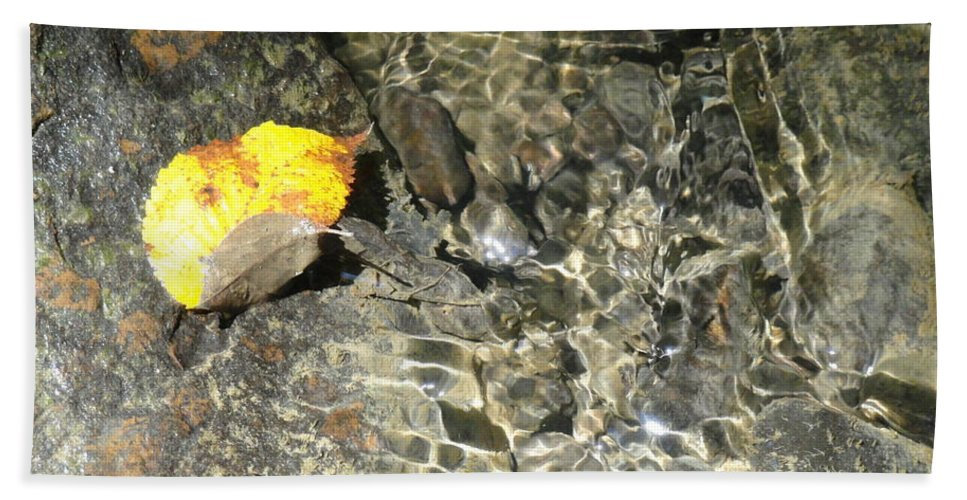 Leaves Bath Sheet featuring the photograph Golden Clear Ripples by Trish Hale