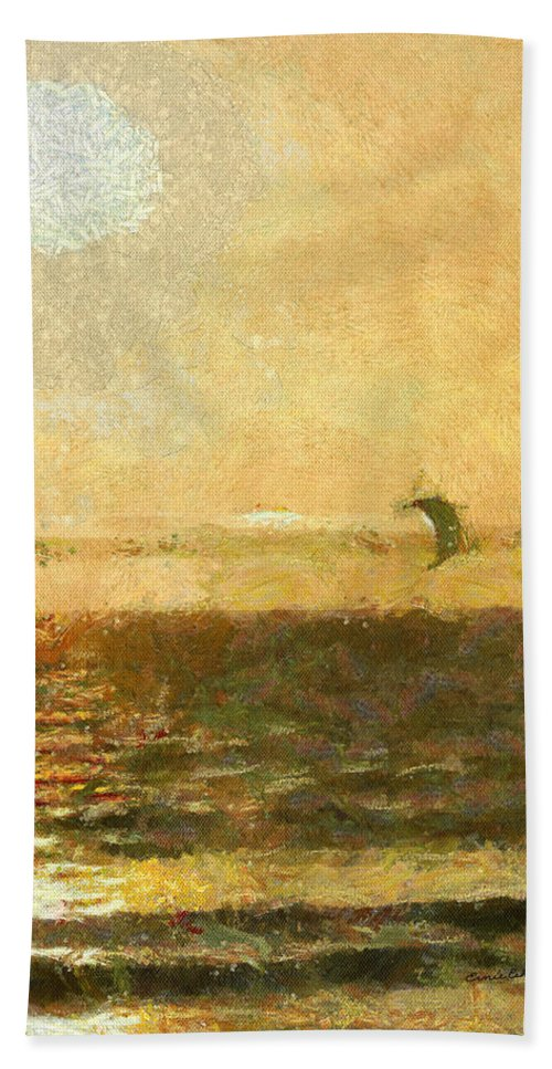 Golden Day Painterly Bath Sheet featuring the digital art Golden Day Painterly by Ernie Echols