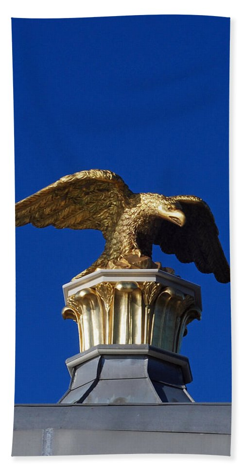 City Scenes Bath Sheet featuring the photograph Golden Eagle by Lisa Phillips