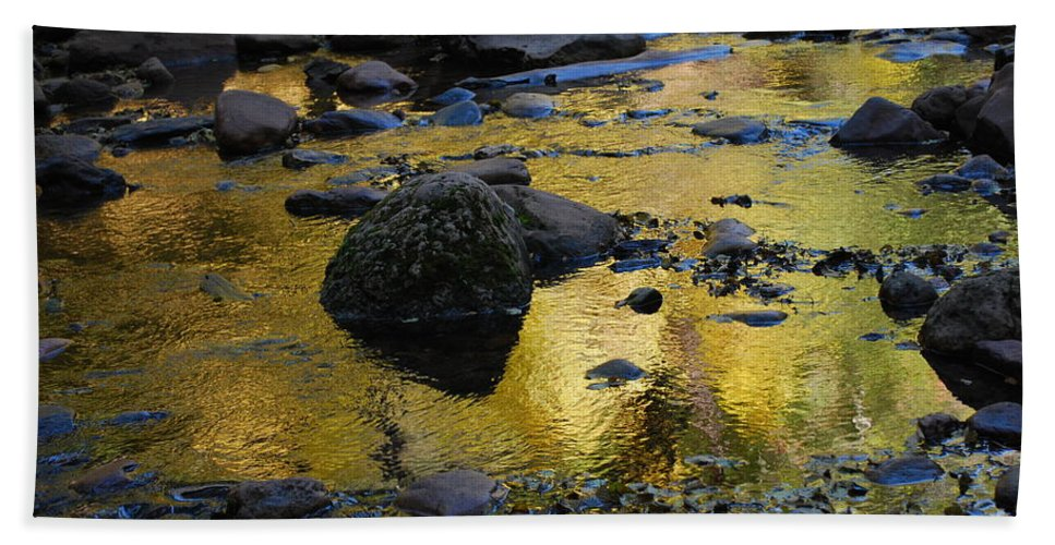 Sedona Bath Sheet featuring the photograph Golden Fall Reflection by Heather Kirk