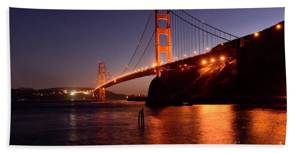 San Francisco Hand Towel featuring the photograph Golden Gate Bridge At Night 2 by Bob Christopher