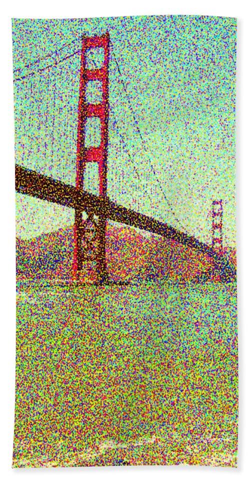 Seurat Bath Sheet featuring the digital art Golden Gate Bridge by Peggy Starks