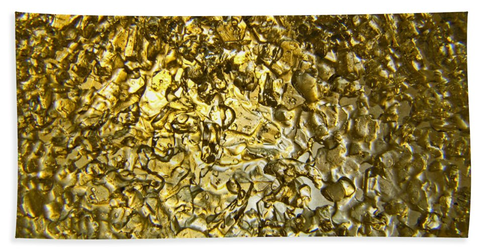 Bath Sheet featuring the photograph Golden Ice Crystals by Debbie Portwood