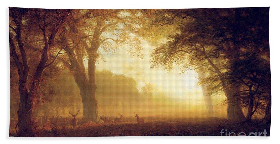 Albert Bath Sheet featuring the painting Golden Light Of California by Albert Bierstadt