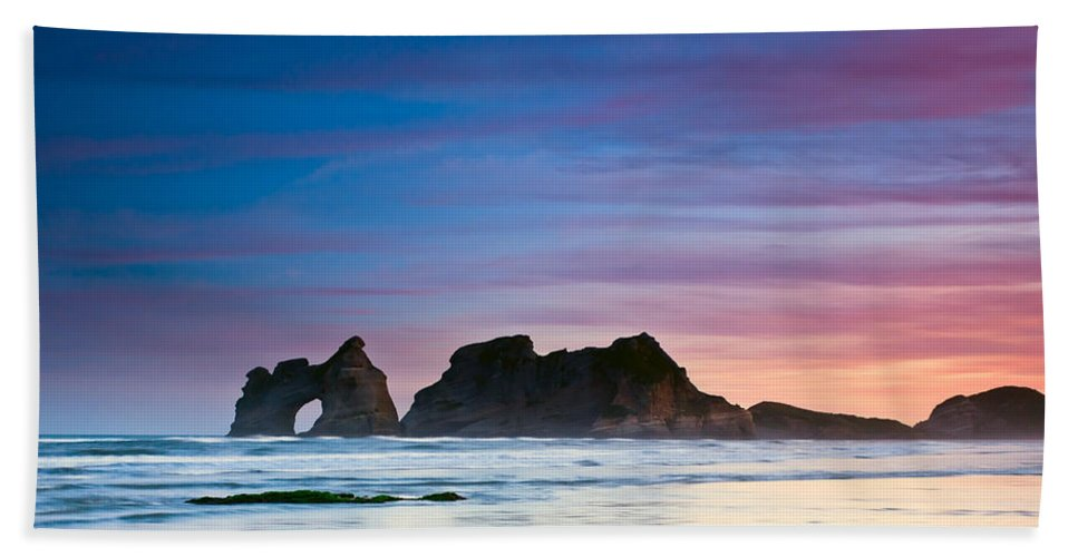 Background Bath Sheet featuring the photograph Golden Morning At A Beach by U Schade