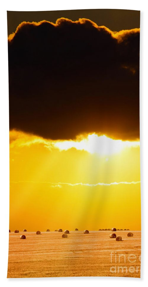 Boat Hand Towel featuring the photograph Golden Sunset On Farmland by Simon Bratt Photography LRPS