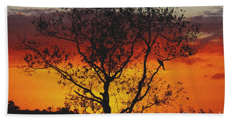 Sunset Bath Sheet featuring the photograph Golden Sunset Over Circle B Bar Sandstone by Barbara Bowen