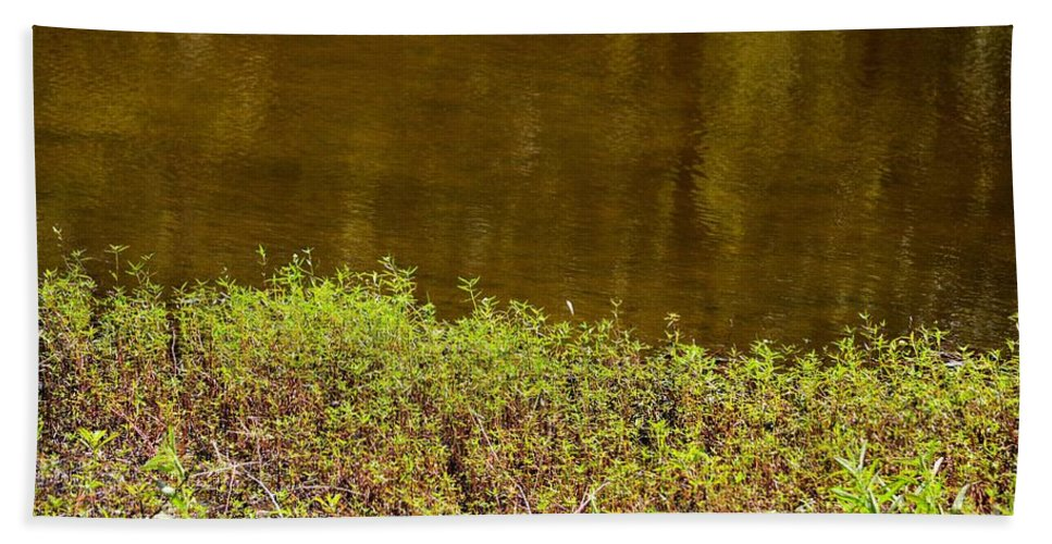 Golden Water's Edge Hand Towel featuring the photograph Golden Water's Edge by Maria Urso