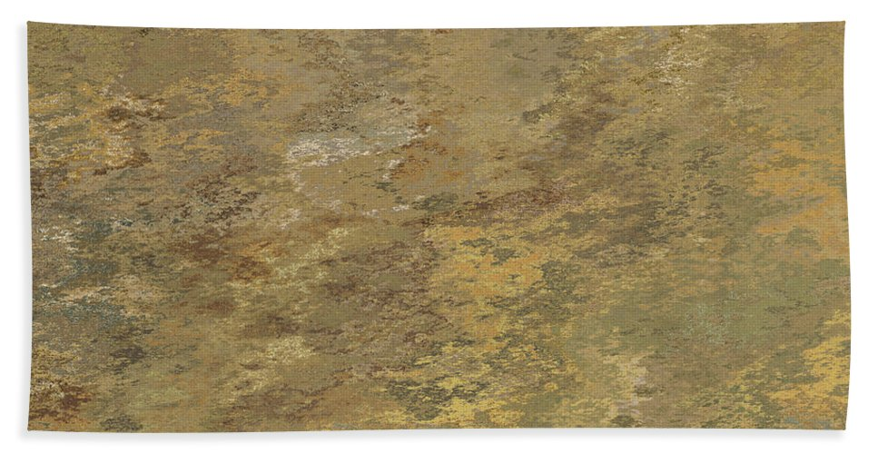 Abstract Bath Sheet featuring the digital art Goldtone Stone Abstract by Debbie Portwood