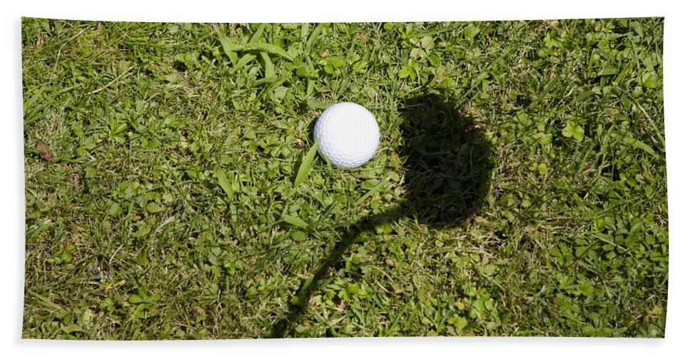 Golf Bath Sheet featuring the photograph Golf Ball And Shadow by Mats Silvan